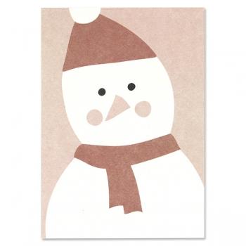 ava&yves Postkarte | Schneemann | rosa